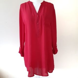 NWT Worthington Red Roll Tab Tunic Sz M